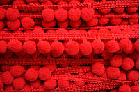Тасьма с помпонами 10 мм красные