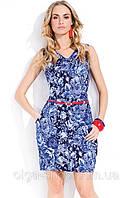 Платье женское ZAPS FEBE синее, голубое, летнее, с поясом