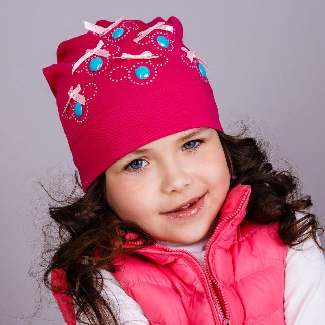 """Демисезонная  шапка для девочек """"Пуговки"""""""