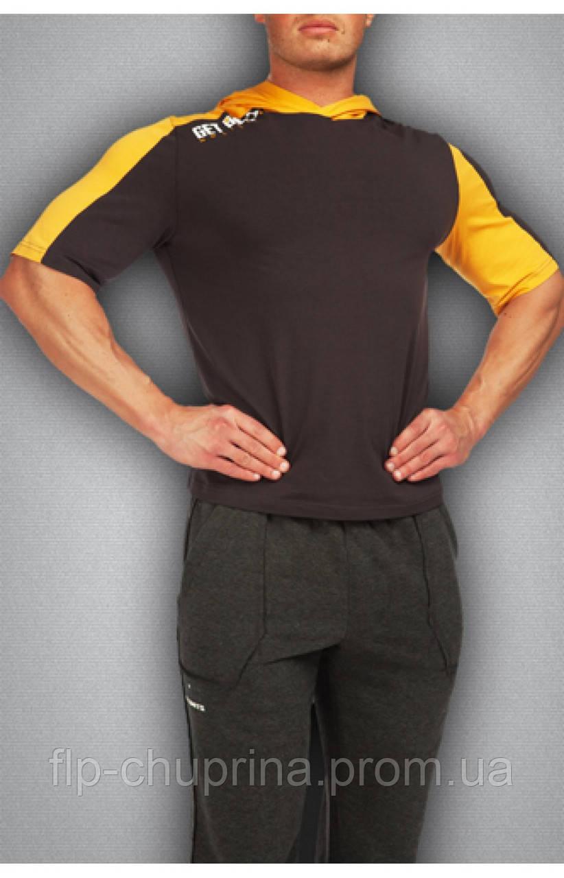 Мужская футболка серая с желтым
