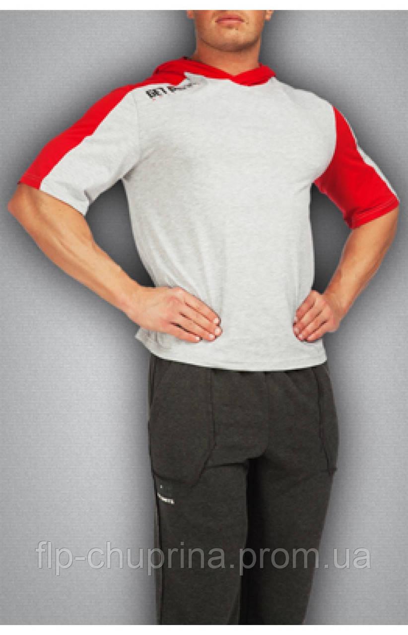 Мужская футболка серая c красным