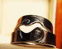 Кольца серебряные Инь Янь