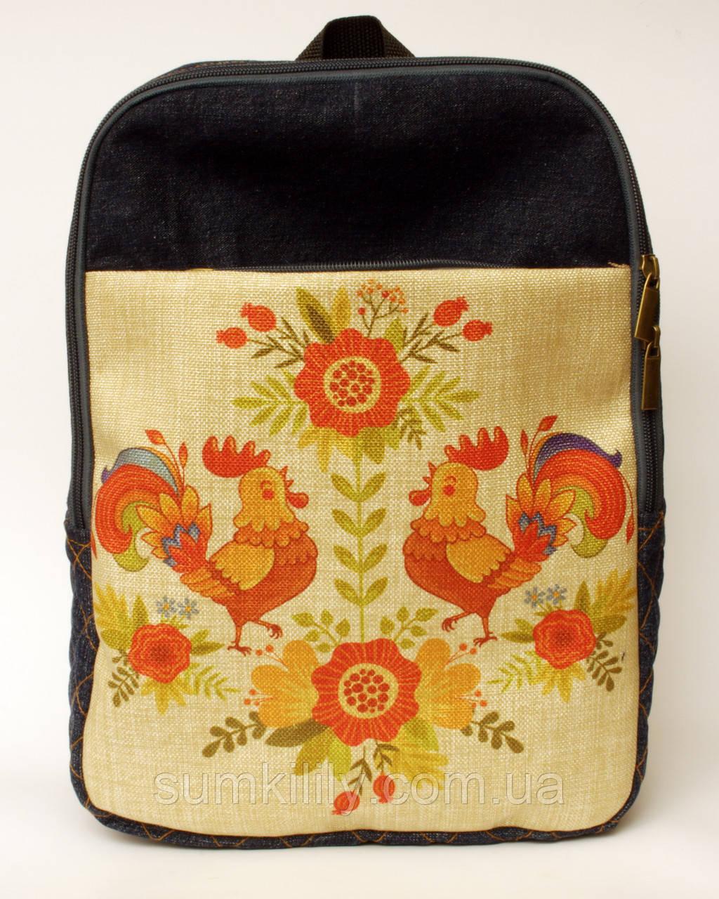 Джинсовый рюкзак петушки