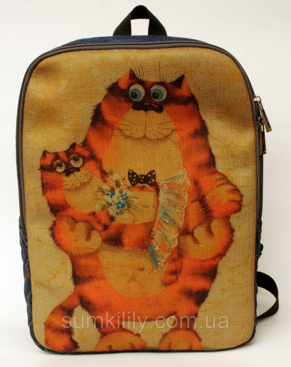 Джинсовый рюкзак счастливый кот