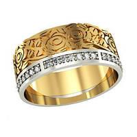 Кольцо обручальное золотое Розы с Камнями