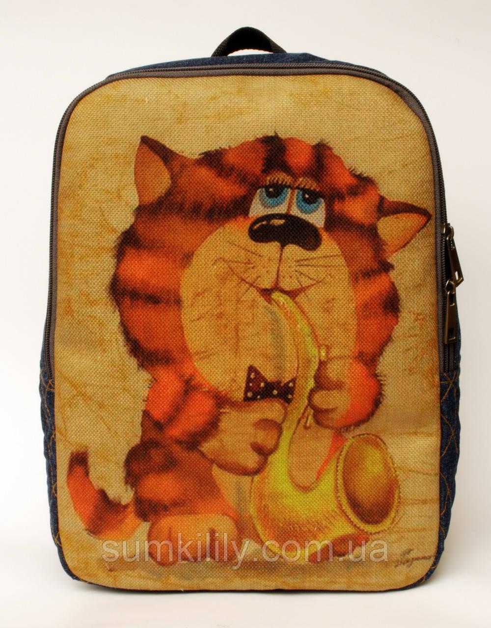 Джинсовый рюкзак кот с саксафоном