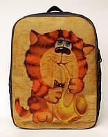 Джинсовый рюкзак кот с саксафоном, фото 1