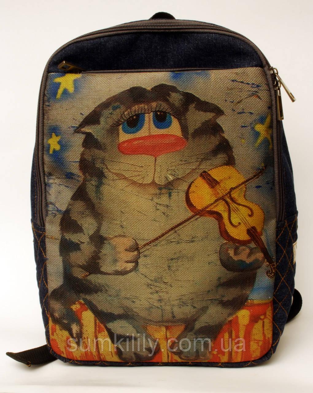 Джинсовый рюкзак кот со скрипкой