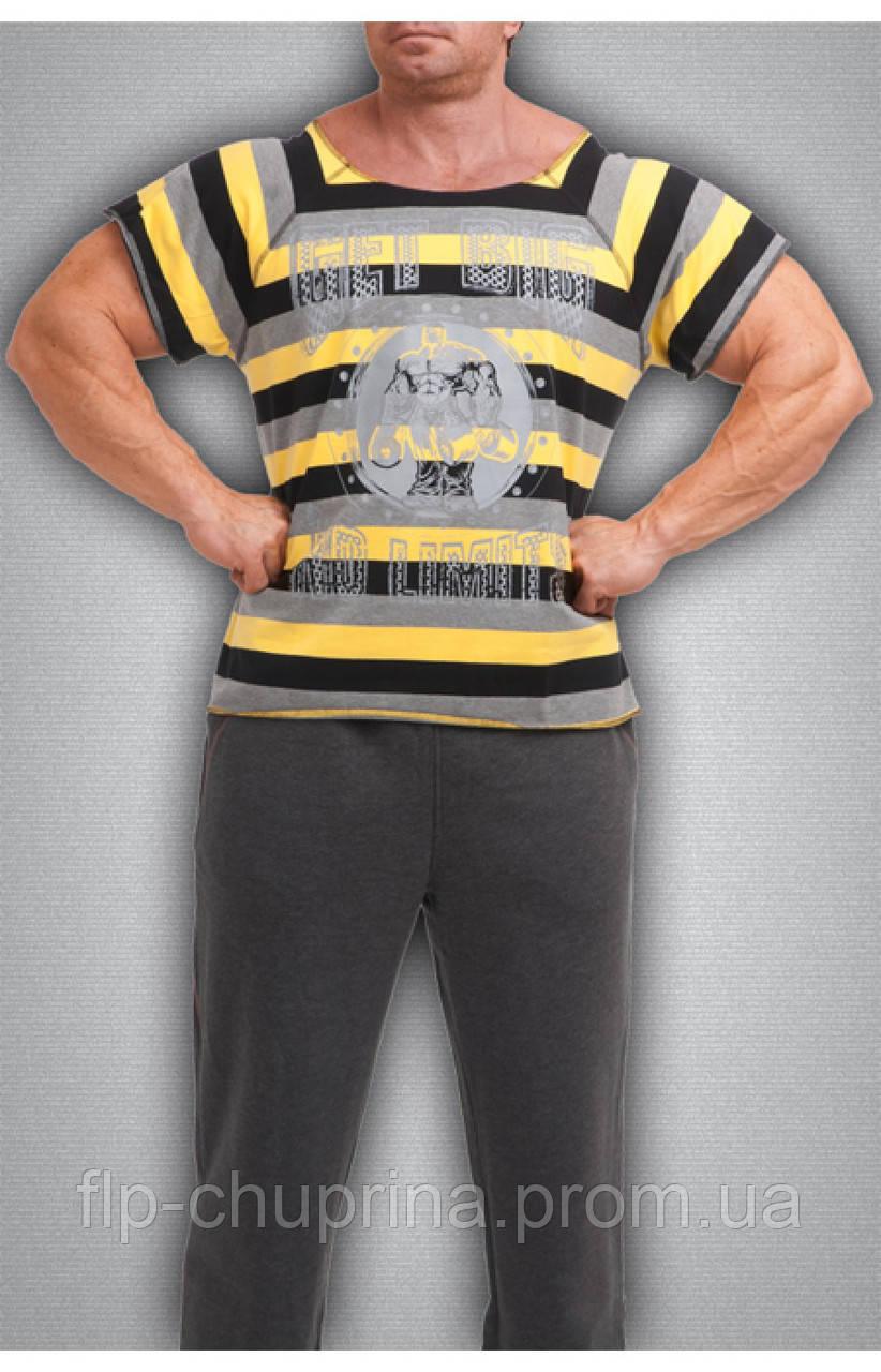 Мужская футболка в черно-желтую полоску