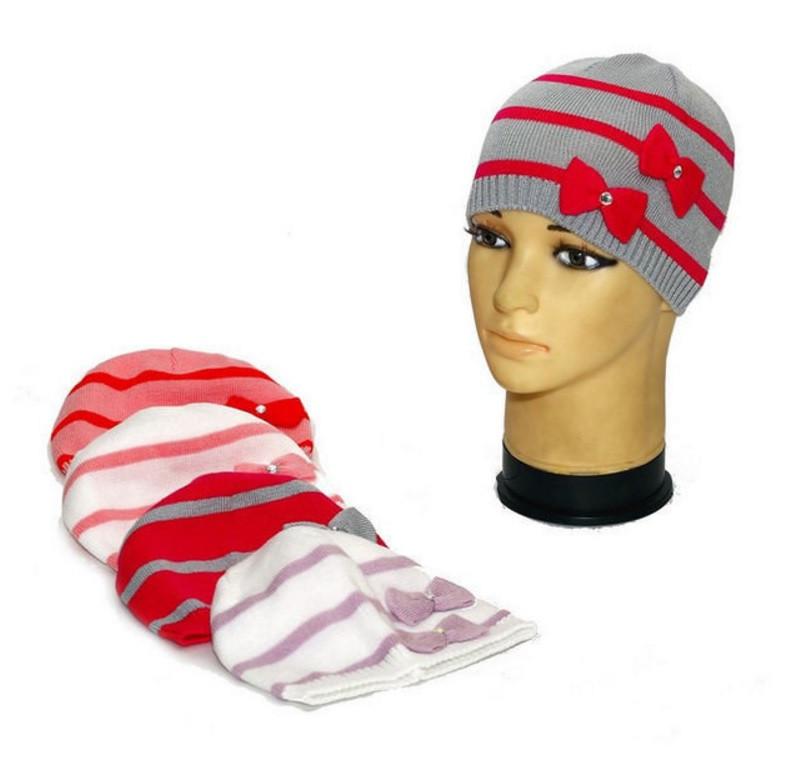 """Демисезонная шапка для девочек """"Два банта"""""""