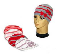 """Демисезонная шапка для девочек """"Два банта"""", фото 1"""