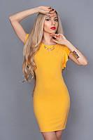 Нарядное платье с глубоким вырезом на спине,рукав-двойной волан р. 44,46,48 желтое