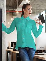 Шифоновая блузка с удлинённой спинкой и накладными карманами мятного цвета