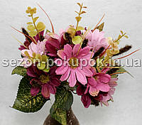 Букет маргаритки + колоски (12-13 цветочков) Цвет - фуксия+розовый Цена за букет