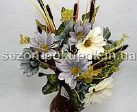 Букет маргаритки + колоски (12-13 цветочков) Цвет - сизый+молоко Цена за букет