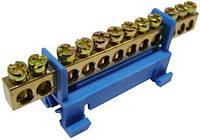 Шина нулевая изолированная в корпусном изоляторе на DIN-рейку на 12 отверстий
