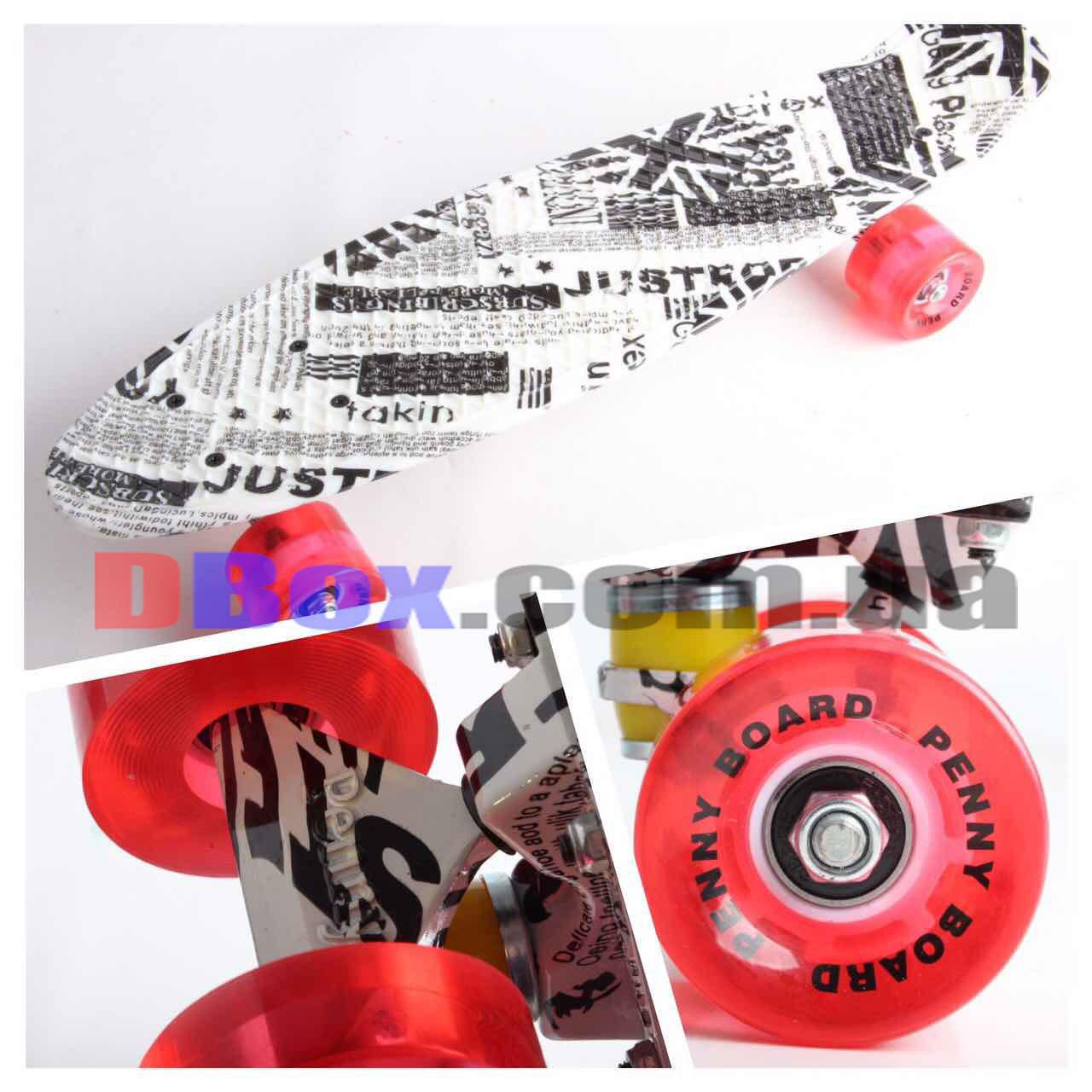"""Скейт Пенні борд Penny Glory 22"""" з унікальним двостороннім малюнком full DG і світяться колесами British"""