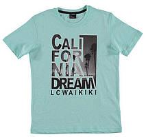 Футболка для мальчика LC Waikiki светло-голубого цвета с надписью California Dream 100% хлопок