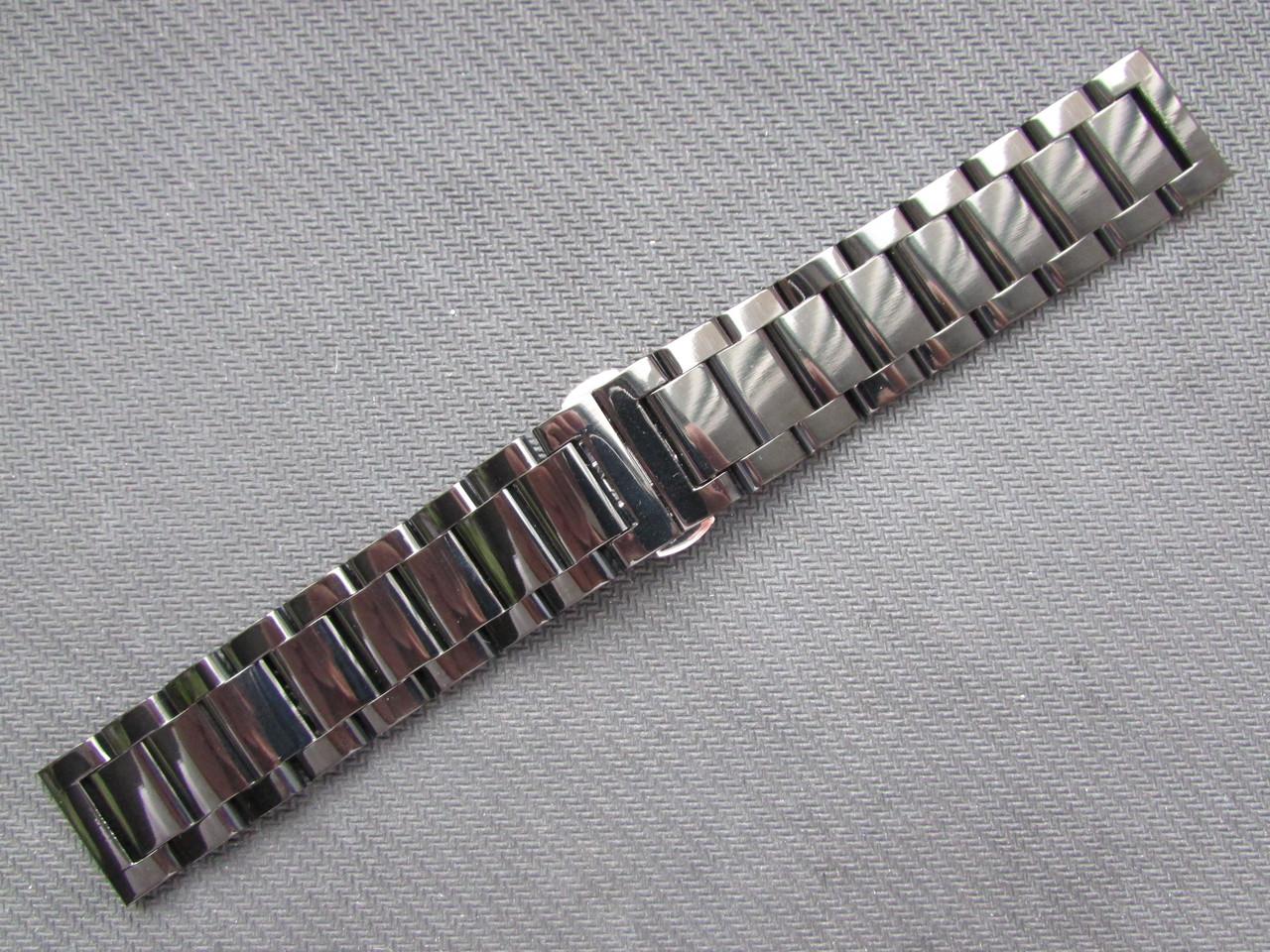 Браслет для часов из нержавеющей стали, черный, литой, полированный.  22 мм. Samsung Gear S3/ Frontier