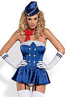 Сексуальный костюм Стюардессы Obsessive Stewardess corset S/M, L/XL корсет,шапочка,повязка на шею,перчатки