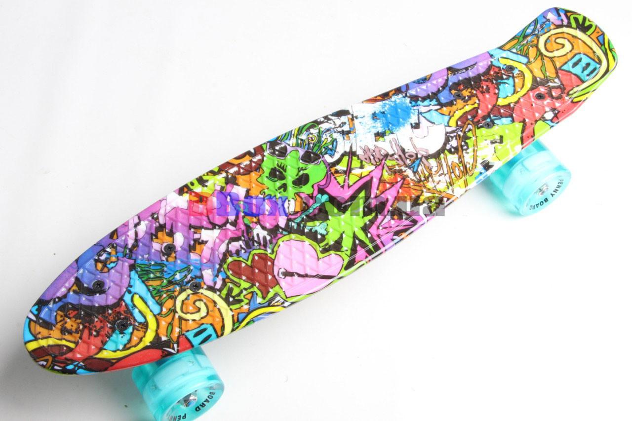 """Скейт Пенні борд Penny Glory 22"""" з унікальним двостороннім малюнком full DG і світяться колесами Girl Draft"""