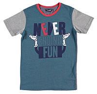 Футболка для мальчика LC Waikiki сине-серого цвета с надписью Never ending fun 100% хлопок
