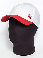 """Белая бейсболка """"NY"""" с красным козырьком (лакоста шестиклинка)"""