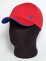 """Стильная бейсболка """"NY"""" красная с подкозырьком цвета электрик (лакоста шестиклинка)"""