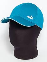 """Спортивная кепка бейсболка с логотипом """"Puma"""" бирюзовая с белым кантом (лакоста шестиклинка)"""