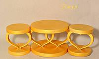 Набор свадебных подсвечников деревянных в золотом цвете