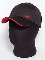 """Черная кепка бейсболка с логотипом """"Puma"""" с красным подкозырьком (лакоста шестиклинка)"""