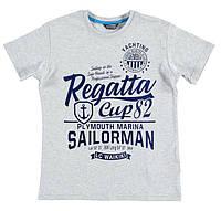 Футболка для мальчика LC Waikiki светло-серого цвета с надписью Regatta cup 82 100% хлопок