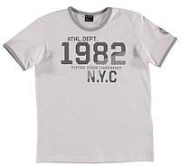 Футболка для мальчика LC Waikiki светло-серого цвета с надписью 1982 NYC 100% хлопок