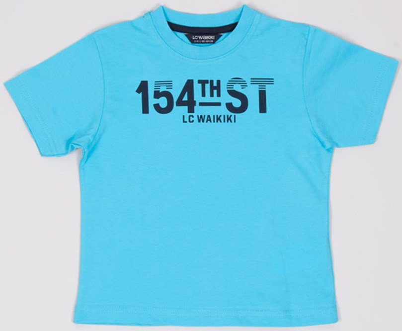 Футболка для мальчика LC Waikiki голубого цвета с надписью 154 ST 100% хлопок