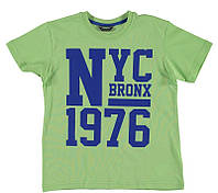 Футболка для мальчика LC Waikiki светло-зеленого цвета с надписью NYC 1976 100% хлопок