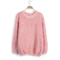 Женский свободный свитер-травка с длинными рукавами персиковый