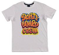 Футболка для мальчика LC Waikiki белого цвета с надписью Skate board crew 100% хлопок 8-9(рост 128-134)