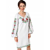 Біле лляне плаття із яскравою Борщівською вишивкою L-1-50р 17b63a484a204