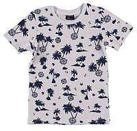 Футболка для мальчика LC Waikiki белого цвета в синие пальмы 100% хлопок