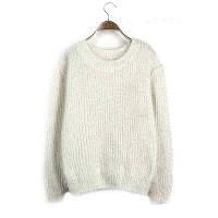 Женский свободный свитер-травка с длинными рукавами белый, фото 1
