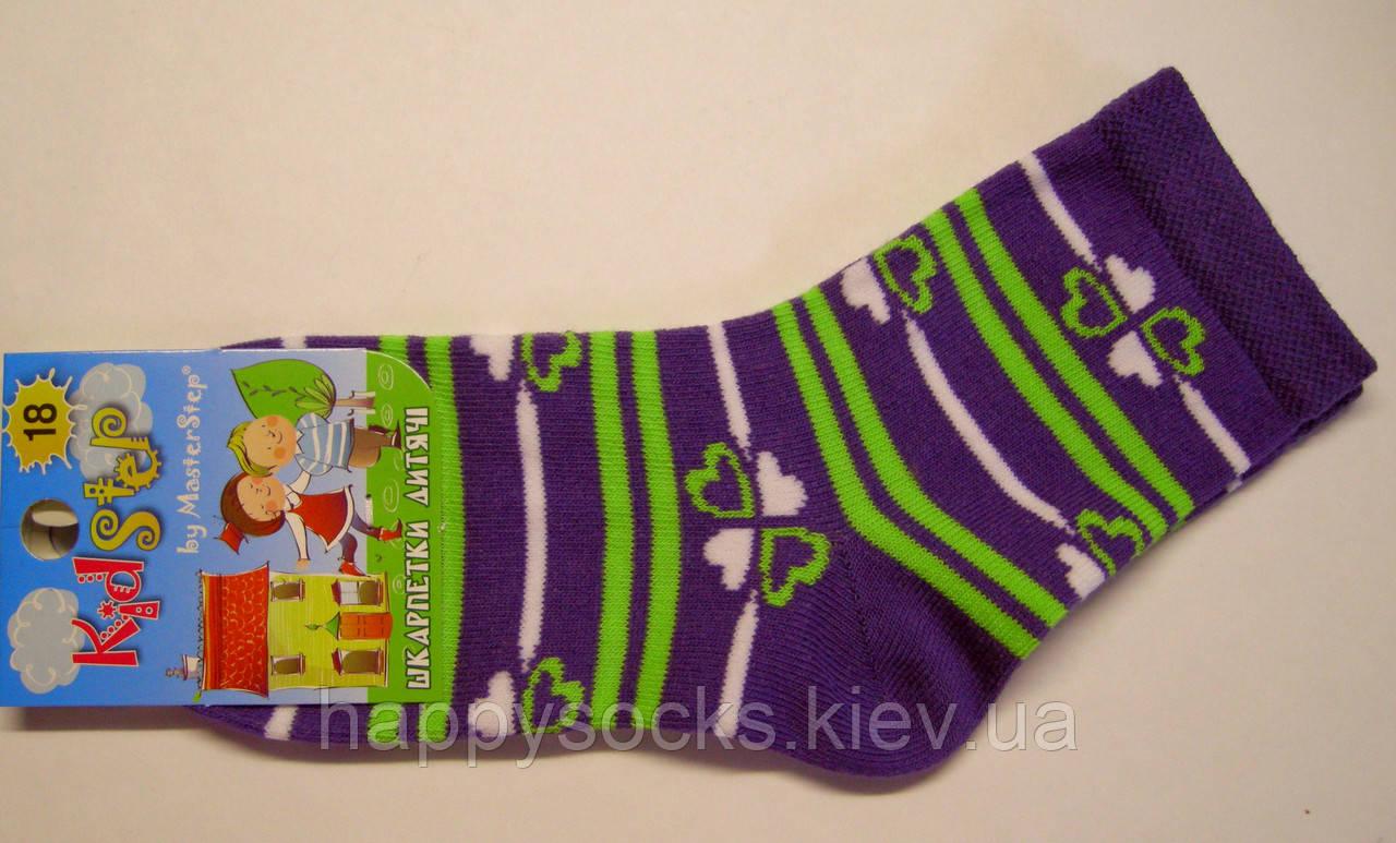 Цветные носки для девочек фиолетового цвета с салатовой полоской