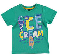 Футболка для мальчика LC Waikiki зеленого цвета с надписью Ice cream 100% хлопок