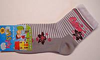 Носки детские серого цвета в полоску и цветы