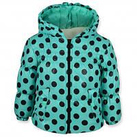 Детская демисезонная куртка для девочки, на флисе, бирюза, р.92