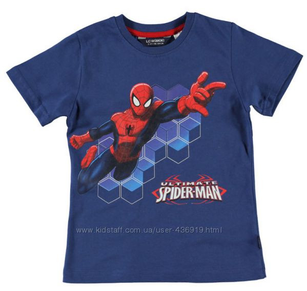Футболка для мальчика LC Waikiki синего цвета с надписью Spider man 100% хлопок