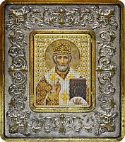 Набор с рамкой для вышивания бисером икона Св. Николай Чудотворец INS 702103