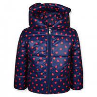 Детская демисезонная куртка Сердечки на девочку, синяя, р.98