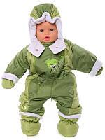 Детский комбинезон трансформер на флисе (Оливковый с зеленым)