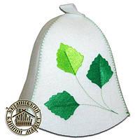 """""""Березка"""", шапка для бани с декором (эконом белая)"""