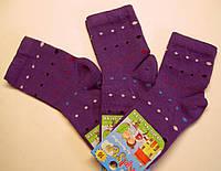 Высокие носки фиолетового цвета в цветной горошек для девочки